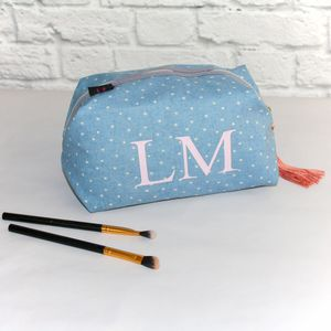 Chambray Star Print Wash Bag Plain Or Personalised - wash & toiletry bags