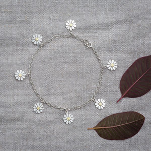 Daisy Bracelet In Solid Silver And 18ct Gold