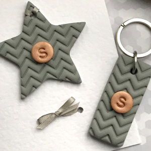 Personalised Keyring And Card Chevron Gift Set