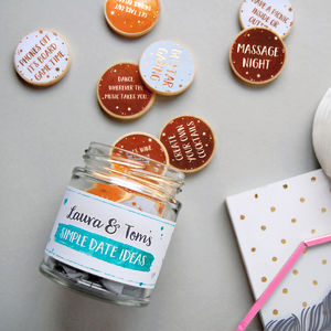 Personalised Couple's Date Ideas Jar - cards & wrap