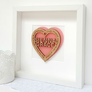 Personalised New Baby Girl Pink Oak Heart