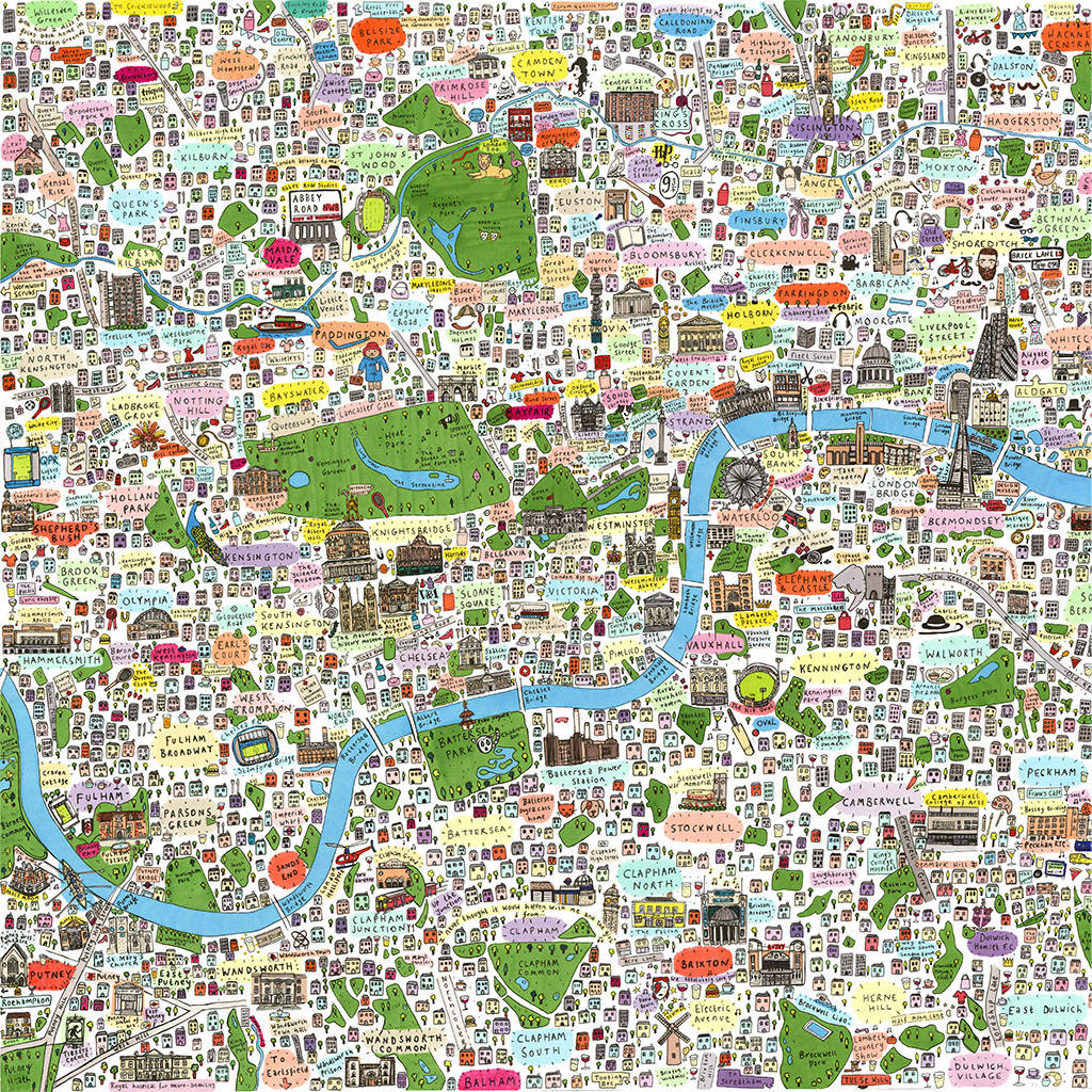 Limited Edition London Illustrated Map Print By House Of Cally