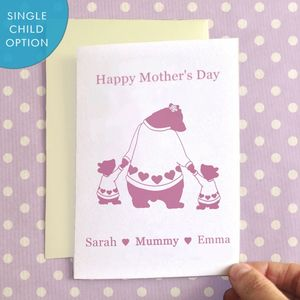 Personalised Mother's Bears Mother's Day Card - valentine's cards