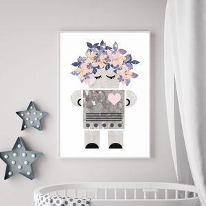 Lady Robot Contemporary Children's Print - posters & prints