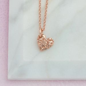 Dainty Rose Gold Vermeil Floral Heart Pendant - rose gold jewellery