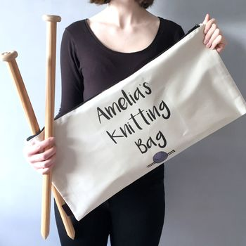Personalised Chunky Knitting Needle Bag
