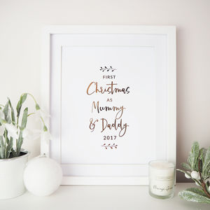 'First Christmas As Mummy And Daddy' Foil Print