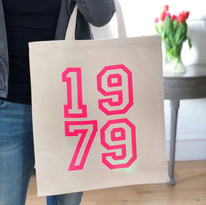 1979 40th Birthday Pink Neon Canvas Bag