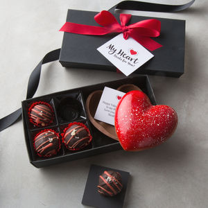 Artisan Chocolate Heart Gift Box With Secret Message - flowers & chocolates with a twist