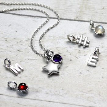 Silver Star Initial Necklace