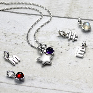 Silver Star Initial Necklace - jewellery sale