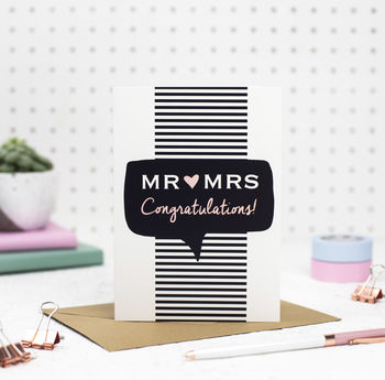 'Mr And Mrs Congratulations' Wedding Day Card
