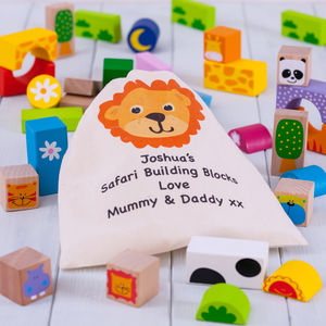 Personalised Safari Animals Wooden Building Blocks