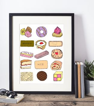 ' Framed Favourite Cakes And Biscuits Print '