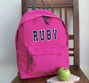 Girls Personalised Applique Name Rucksack