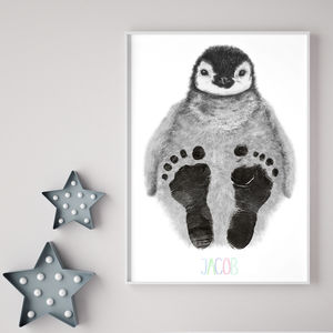 Personalised Baby Penguin Footprint Kit - father's day gifts
