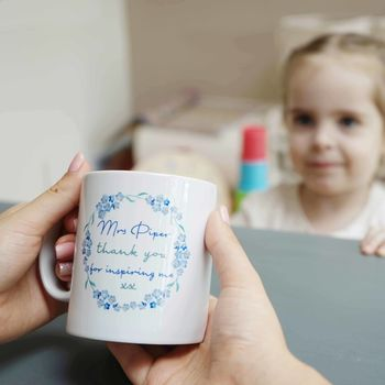 Personalised Forget Me Not Teacher Mug