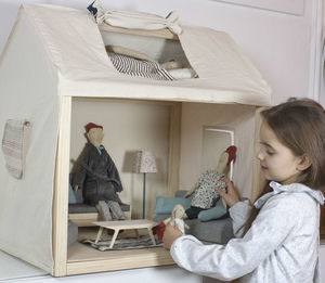 Scandinavian Cloth And Wood Dolls House - dolls' houses