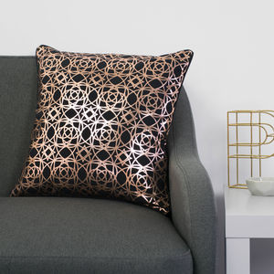Metallic Ornate Print Square Cushion - patterned cushions