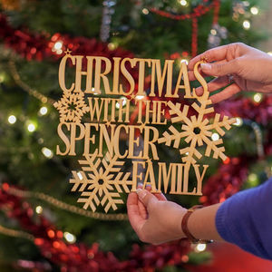 Personalised Wooden Hanging Christmas Family Sign - christmas home accessories