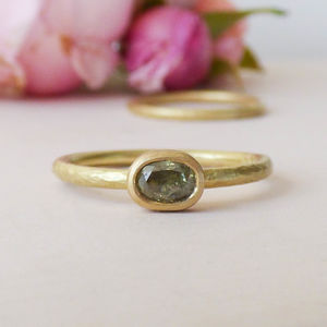 Jolie 18ct Fairtrade Gold And Green Diamond Ring - rings