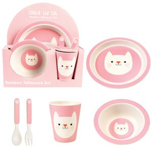 Cookie The Cat Bamboo Tableware Set Of Five