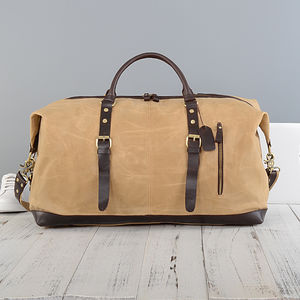 Handmade Waxed Canvas Classic Travel Holdall - summer sale