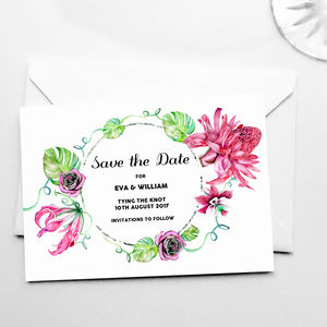 Botanical Tropical Save The Date Cards - new in wedding styling