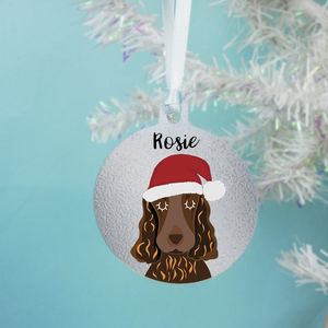 Personalised Christmas Dog Decoration Silver