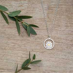 Little Daisy And Circle Pendant In Silver And 18ct Gold