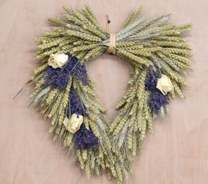 Rose And Lavender Heart Wheat Wreath - room decorations