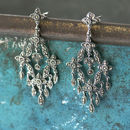 Chandalier Marcasite Statement Vintage Drop Earrings