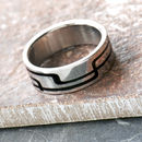 Personalised Men's Stainless Steel Ring Black Inlay