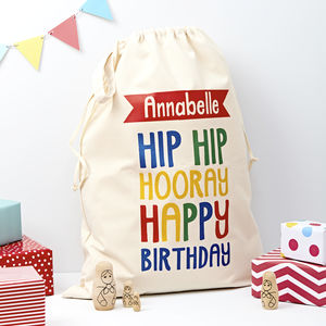 Child's Personalised Birthday Present Sack - ribbon & wrap