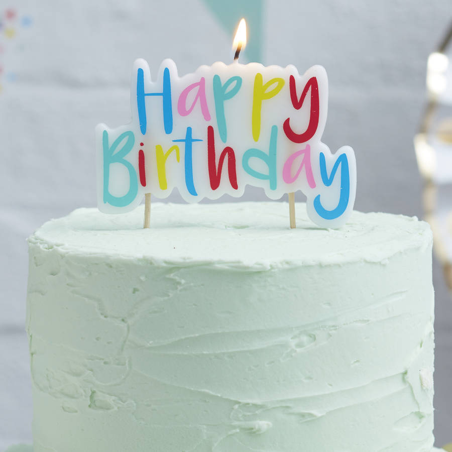 Mulit Coloured Happy Birthday Cake Candle