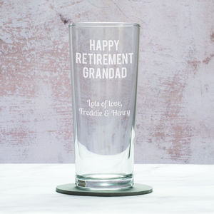 Personalised Retirement Pint Glass