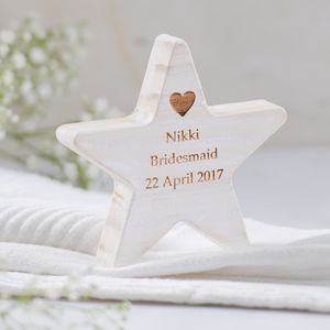 Personalised Bridesmaid Thank You Wooden Star Keepsake - home accessories