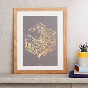 Metallic Personalised Map Print - anniversary prints