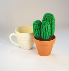 Crocheted Amigurumi Cactus Green - flowers, plants & vases