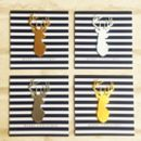 Gold Stag Head Mini Christmas Cards