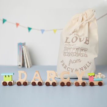 Wooden Name Train With Pastel Engine And Gift Bag