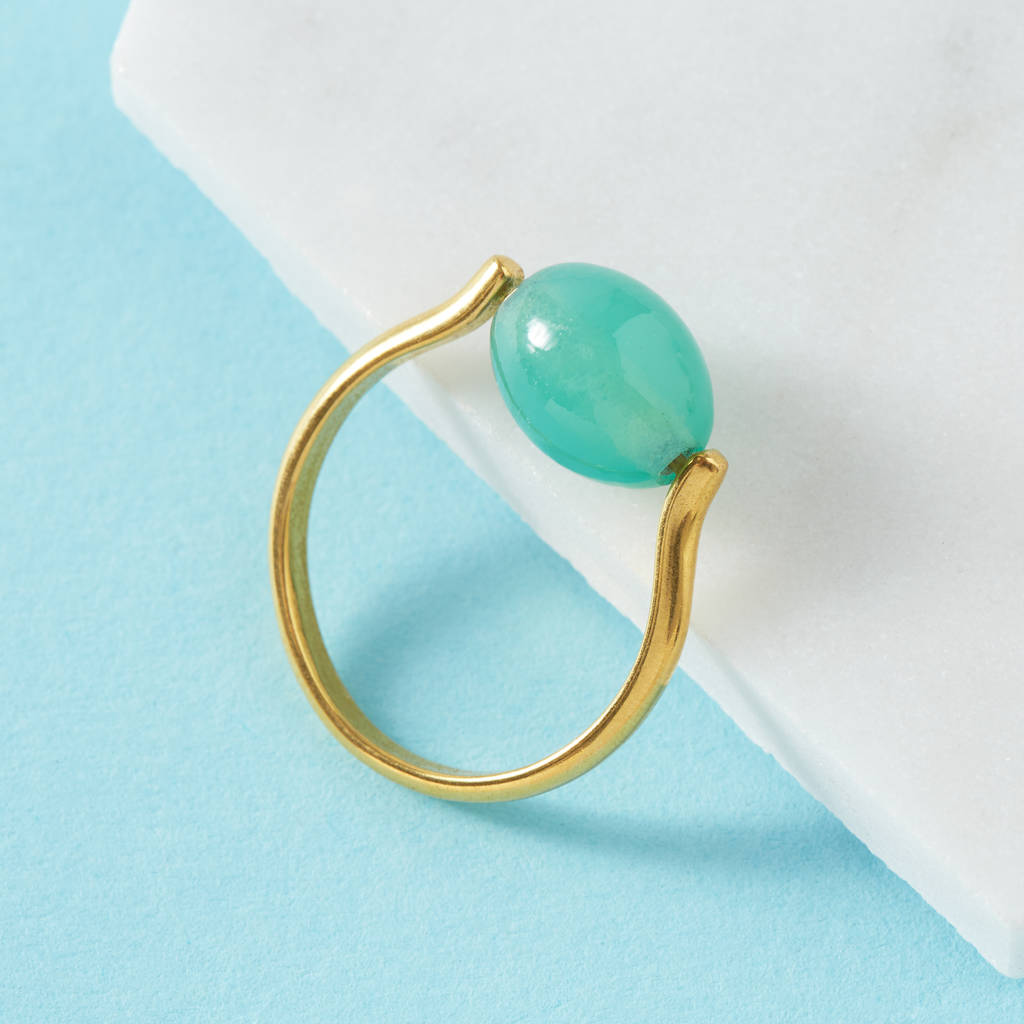 Adjustable Ring With Jade Green Stone