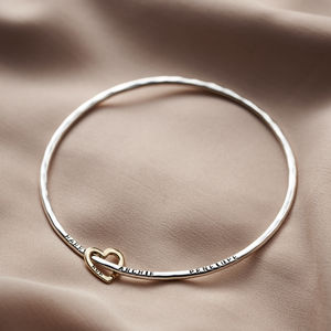 Personalised Nine Ct Gold Heart Bangle - gifts for grandmothers