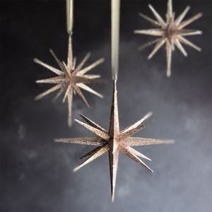 Blush Pink Glitter Star Christmas Decoration - home accessories