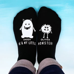 Personalised Little Monster Daddy Socks - birthday gifts