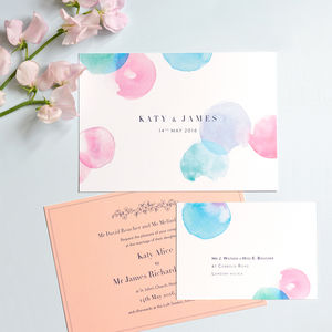 Modern Watercolour Wedding Invitation And RSVP - wedding stationery