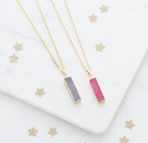 Long Druzy Pendant Necklace