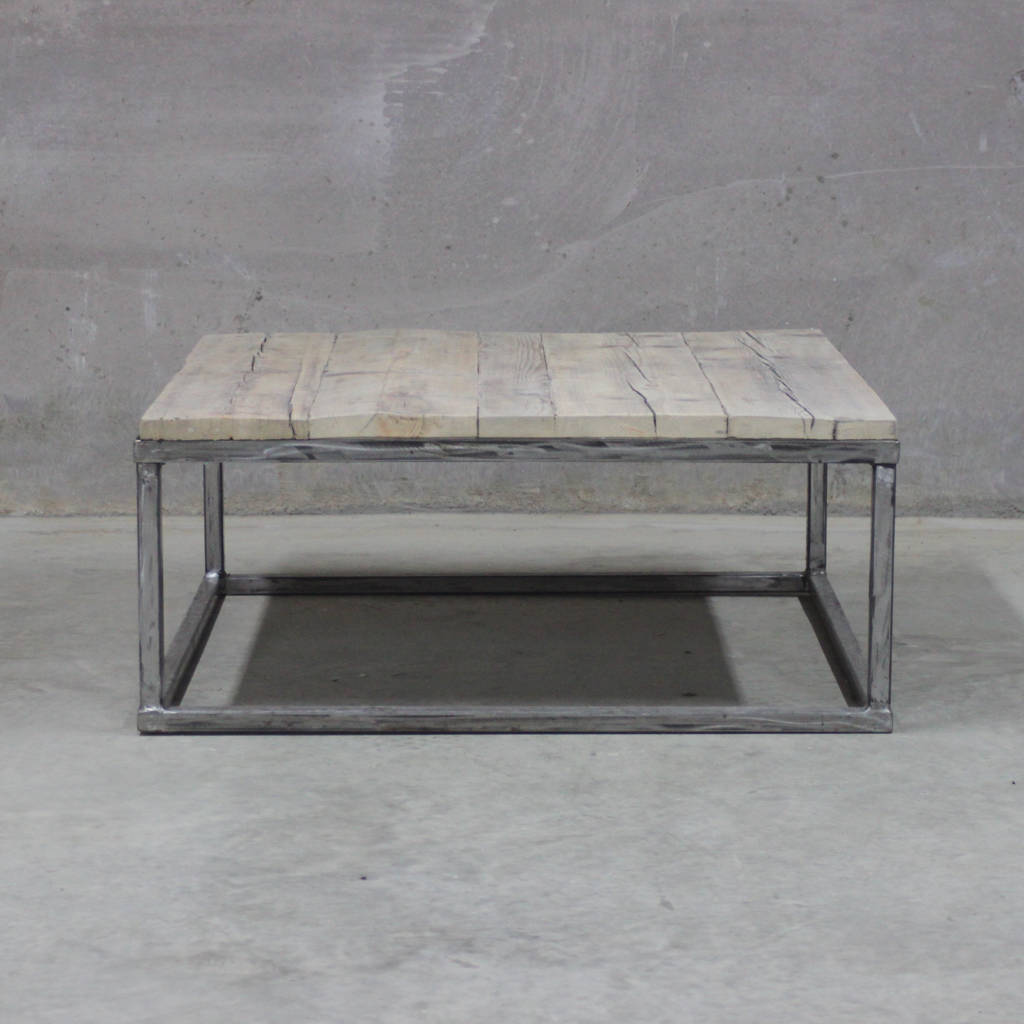Reclaimed Wood Coffee Table With Raw Steel Box Frame By Rust Collections
