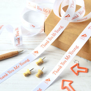 White 15mm Personalised Thank You Teacher Ribbon with orange print