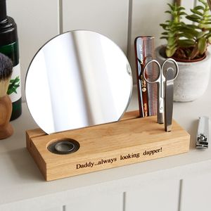 Gent's Grooming Mirror With Personalised Stand - gifts for him